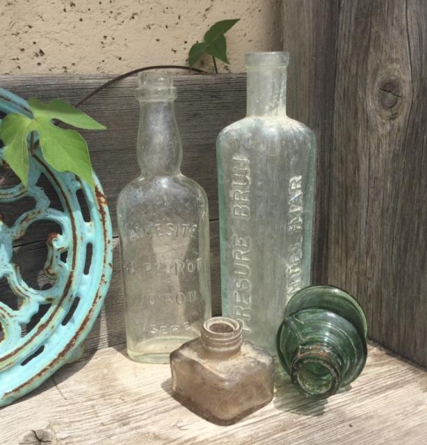 Flesje, decoratief, vintage, industrieel