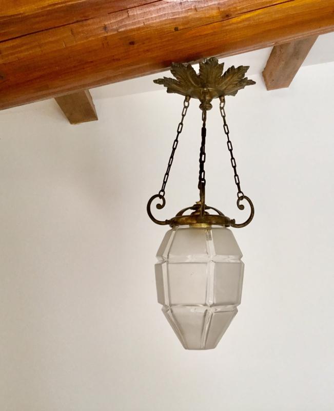 Franse klassieke bronzen hal lamp met barok lamp glas