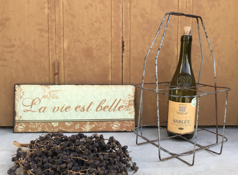 Vintage Frans flessenrek voor vier flessen porte bouteille