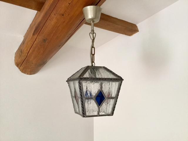Franse glas in lood lamp met krul sierwerk