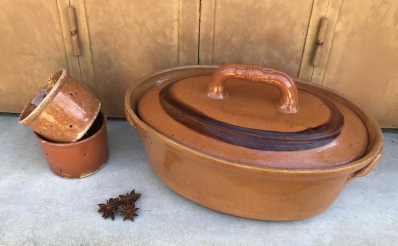 Franse antieke terrine met deksel terracotta vuurschaal ovenschaal