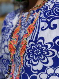 Long Dress Blue/White Flowers Embroidery