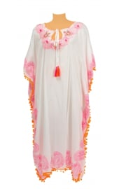 White and orange kaftan pom pom