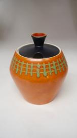 Vintage bowlset; keramieke pot met 4 bekers