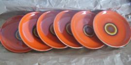6 oranje gebaksborden