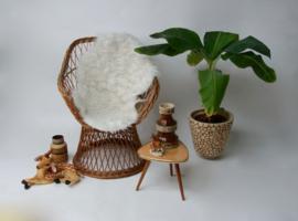 Vintage rieten kuipstoel