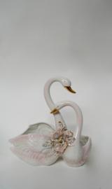 Vintage zwanenpaar bloempot