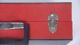 Rood met zwarte harmonica platenkoffer