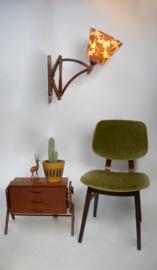 Vintage houten schaarlamp van Nederlands Octrooi