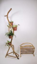 Vintage Rohe rotan plantenstandaard, jaren 60 bamboe slang