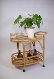 Vintage rotan bamboe serveerwagen/trolley