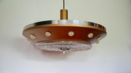 Ufo hanglamp ; zwaar glas, metaal met glaasjes