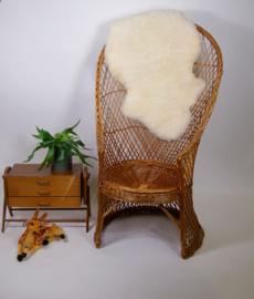 Vintage rieten kuipstoel stoel, hoog model