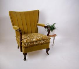 Vintage fluwelen fauteuil, retro groen