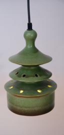 Vintage groene hanglamp van keramiek