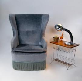 Vintage fauteuil velvet grijs
