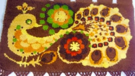 Wand/vloerkleed van handgeknoopt wol