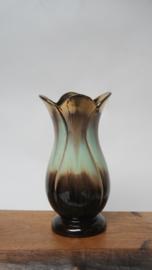 Vintage groen bruin goudkleurige vaas