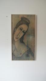 Vintage repro schilderij van Modigliani, vrouw geschilderd op hout