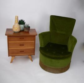 Vintage groen fluwelen fauteuil