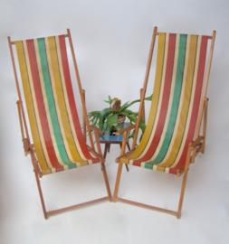 Vintage ligstoel met streep van canvas