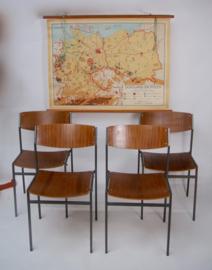 Vintage schoolstoel met rugleuning