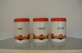 3 koffie, thee, suiker blikken