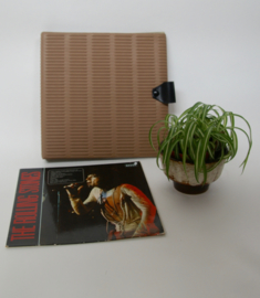 Vintage bruine vinyl opbergmap