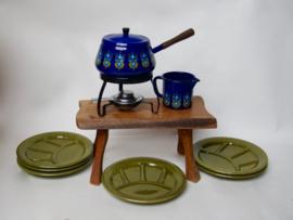 Vintage fonduepan van blauw emaille