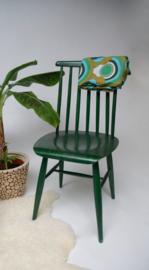Vintage spijlenstoel groen jaren 60