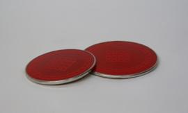 Vintage rode emaille onderzetter SILIT  ∅ 19 en 16 cm