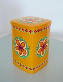 Blikje IRA design oranje met bloem