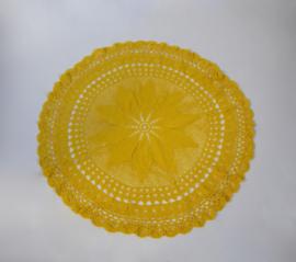 Geel tafelkleed gehaakt 98 cm