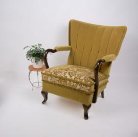 Vintage fluwelen fauteuil uit de jaren 60