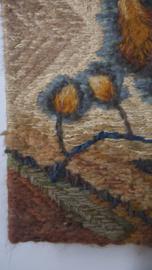 Vintage geweven/gehaakt wandschilderij