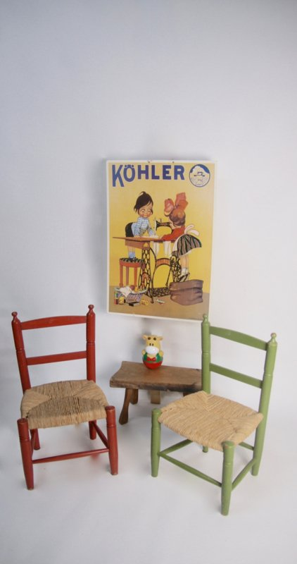 Houten Stoeltje Met Rieten Zitting.Houten Kinderstoel Met Biezen Groen Verkocht Retroloes
