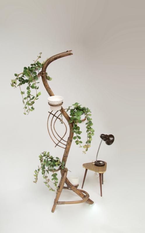 Vintage / jaren 60 rotan rohe plantenstandaard