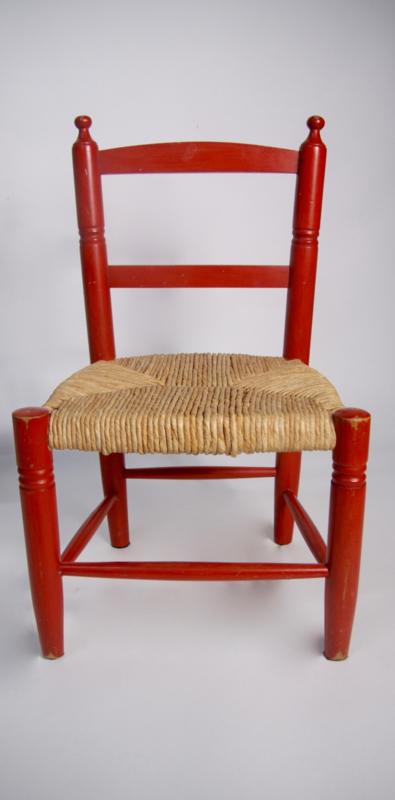 Betere Houten kinderstoel met biezen /rood | Verkocht | RetroLoes YR-18