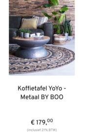 Koffietafel YoYo, kleur metaal, uit de laatste By-Boo collectie.  Afmetingen: 60 x 60 x 32cm.