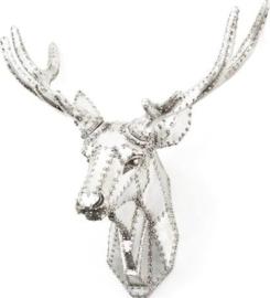 Dieren kop Hert - Zilver - Polyresin - By-Boo