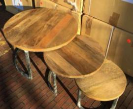 Set van 3 ronde tafeltjes mango hout