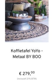 Koffietafel YoYo, kleur metaal, uit de laatste By-Boo collectie 80cm.