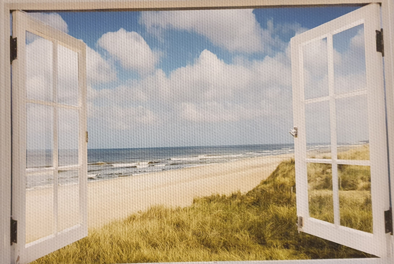 Tuinposter xxl  strand witte deuren