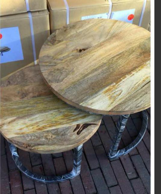 Set van 2 ronde tafeltjes mango hout