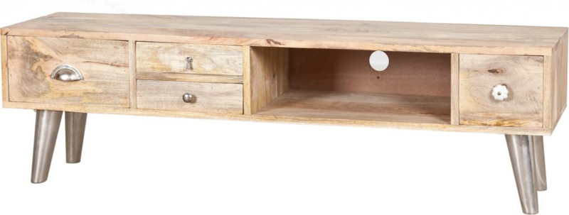 Tv Kast Hout 4 Lades Natuurlijk Finish 140x35x44cm By
