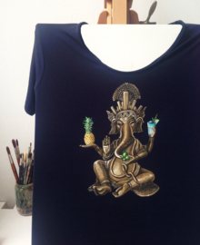 HAND PAINTED T-SHIRT > GANESHA WITH COCKTAIL / PINEAPPLE / LEMONS