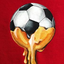 HAND PAINTED SWEATER > GOLDEN BALL / SOCCER / GOLD DRIP