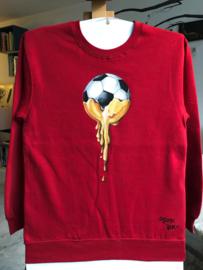 HAND PAINTED SWEATER > GOLDEN BALL / SOCCER / GOLD DRIP