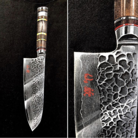 HAND PAINTED T-SHIRT > KYNA KENZO CHEF'S KNIFE / 2 KNIVES COMBINED INTO ONE DESIGN