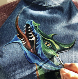 HAND PAINTED DENIM DESIGN TOP > FIREDRAGON